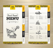 Vintage chalk drawing fast food menu. Sandwich sketch Royalty Free Stock Photos