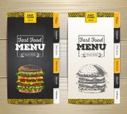Vintage chalk drawing fast food menu. Sandwich sketch Stock Photo