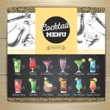 Vintage chalk drawing flat cocktail menu design. royalty free illustration