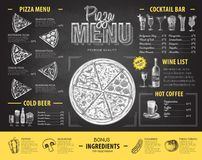 Vintage chalk drawing pizza menu design. Restaurant menu Royalty Free Stock Image
