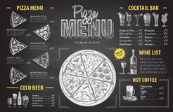 Vintage chalk drawing pizza menu design. Restaurant menu Royalty Free Stock Photography