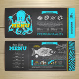 Vintage chalk drawing seafood menu design. Royalty Free Stock Images