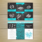 Vintage chalk drawing seafood menu design. Stock Photography