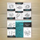 Vintage chalk drawing seafood menu design. Stock Photos
