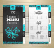 Vintage chalk drawing seafood menu design. Royalty Free Stock Images