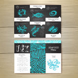 Vintage chalk drawing seafood menu design. Royalty Free Stock Photography
