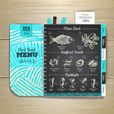 Vintage chalk drawing seafood menu design. Royalty Free Stock Image