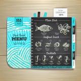 Vintage chalk drawing seafood menu design. royalty free illustration