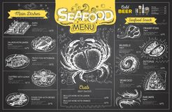 Vintage chalk drawing seafood menu design. Restaurant menu Stock Images