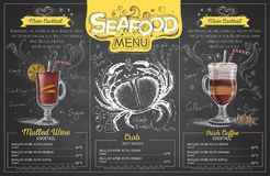 Vintage chalk drawing seafood menu design. Restaurant menu Royalty Free Stock Photography