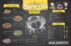 Vintage chalk drawing seafood menu design. Restaurant menu Stock Photos