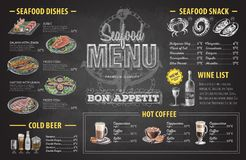 Vintage chalk drawing seafood menu design. Restaurant menu Stock Photography