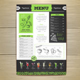 Vintage chalk drawing vegetarian food menu design. Chalk drawing vegetarian food menu design Stock Image