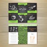 Vintage chalk drawing vegetarian food menu design. Corporate identity Stock Image