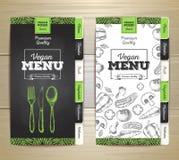 Vintage chalk drawing vegetarian food menu design Royalty Free Stock Photo