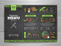 Vintage chalk drawing vegetarian food menu design. Stock Photo