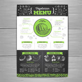 Vintage chalk drawing vegetarian food menu design. Stock Photos