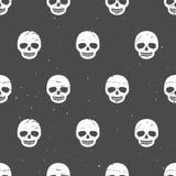 Vintage chalk skulls. Seamless pattern on dark background. Hand Stock Photo