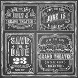 Vintage Chalkboard Backgrounds. Set of 4 Vintage chalkboard backgrounds with retro elements. Each object is grouped and colors are global for easy editing Stock Photography