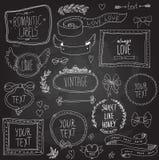 Vintage chalkboard labels set, vector stock illustration