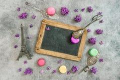 Vintage chalkboard, macaroon cookies, Eiffel tower Paris Stock Images
