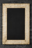 Vintage Chalkboard Reclaimed Wood Frame on Brick Wall Royalty Free Stock Images