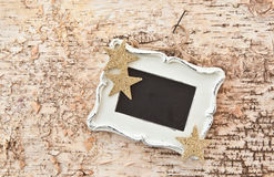 Vintage chalkboard on rustic wood Royalty Free Stock Image