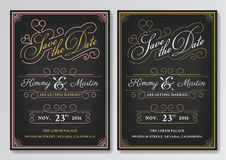 Vintage chalkboard save the date wedding invitation template. Stock Photography