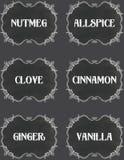 Vintage Chalkboard Spice Labels 1 Stock Image