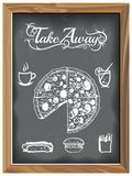 Vintage Chalkboard with Tale Away Pizza and Food icons. EPS 10 Vector graphics. Layered and editable vector illustration