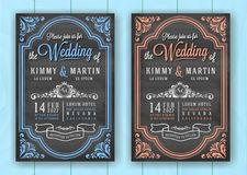 Vintage Chalkboard Wedding Invitation Card Template Stock Image