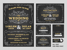 Vintage Chalkboard Wedding Invitations design set. S include Invitation card, Save the date card, RSVP card, Thank you card, Table number, Gift tags, Place cards royalty free illustration