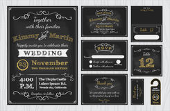 Vintage Chalkboard Wedding Invitations design sets include Invitation card. Save the date, RSVP card, Thank you card, Table number, Gift tags, Place cards Stock Photo
