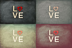 Vintage Chalkboards with red hearts and word LOVE Stock Photos