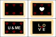 Vintage Chalkboards with red hearts and word LOVE Royalty Free Stock Photo
