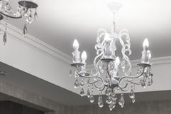 Vintage chandelier. An antique lamp in the interior, Royalty Free Stock Photography
