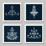 Vintage Chandelier Cards Royalty Free Stock Image