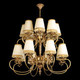 Vintage chandelier isolated on black. Background with clipping path royalty free stock photo