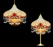 Vintage chandelier and table lamp with crystal pen Royalty Free Stock Photography