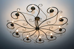 Vintage chandelier with ten lamps Stock Photography