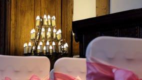 Vintage chandelier at a wedding venue stock footage