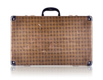 Vintage checkered suitcase Stock Photo