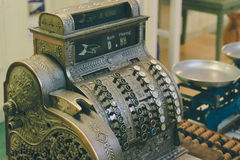 Vintage checkout machine Royalty Free Stock Images