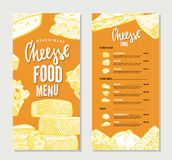 Vintage Cheese Restaurant Menu Template Stock Photography