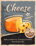 Vintage cheese vector poster Royalty Free Stock Photos