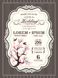 Vintage cherry blossom Wedding invitation border and frame stock illustration