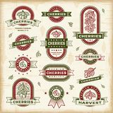 Vintage cherry labels set. A set of vintage cherry labels and badges in woodcut style. Fully editable EPS10 vector illustration stock illustration