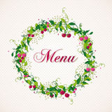 Vintage cherry plant wreath menu background Stock Images