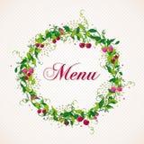 Vintage cherry plant wreath menu background Stock Images