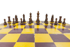 Vintage Chess Board with Black Pieces Royalty Free Stock Photos